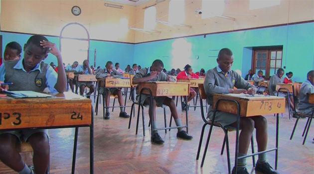 Students sitting for KCPE exams