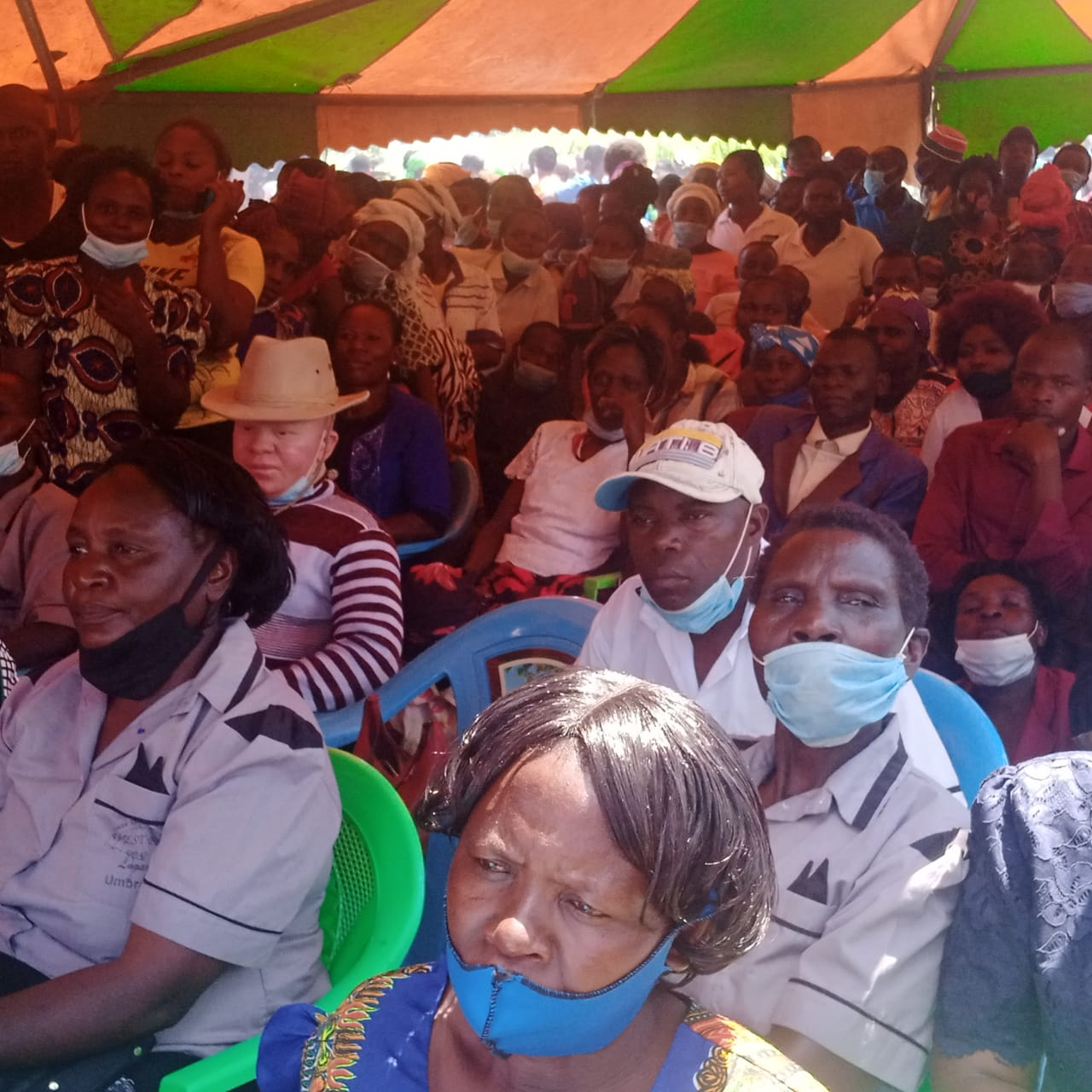 Presenter Mike Maliba with West Media fans during the funeral function of mama Sarah.