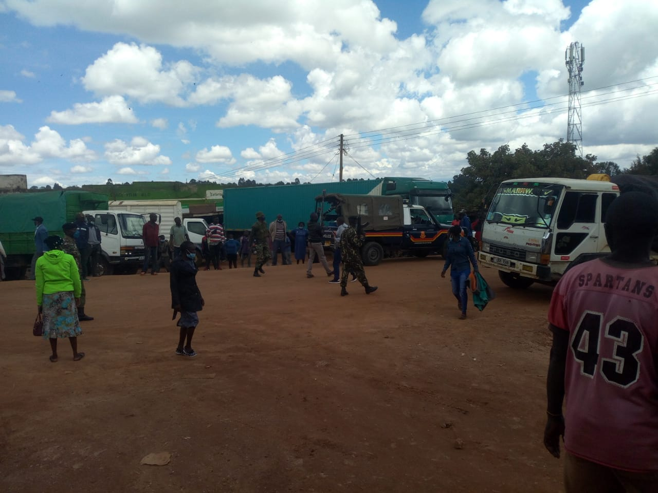 Impounded maize lorries in West Pokot