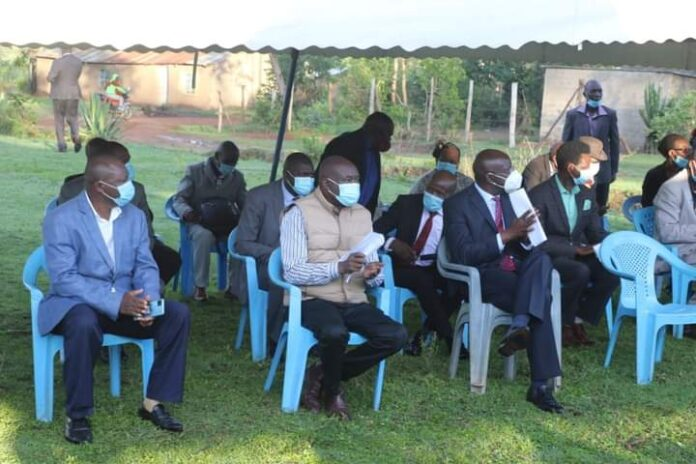 Bungoma Governor Wyclifee Wangamati with his deputy during the meeting with Webuye Pastor's fellowship