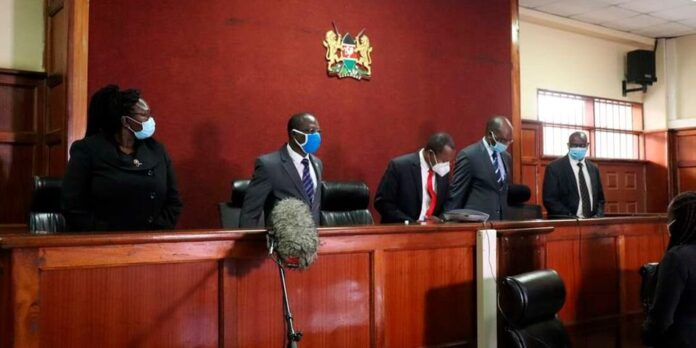 From Left: Lady Justice Teresia Matheka, Justices George Odunga, Joel Ngugi (Presiding) Jairus Ngaah and Chacha Mwita at a Court in Milimani Law Courts on May 13, 2021.