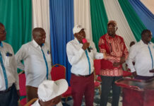Top Knut and Kuppet leaders during a function in Busia town