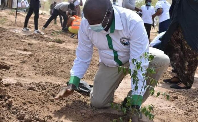 The National Environmental Complaints Committee secretary Dr. John Chumo during tree planting exercise