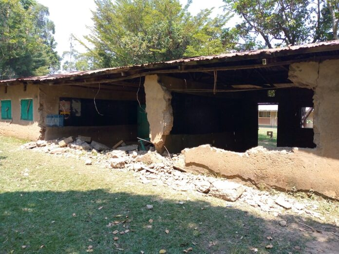 A section of the collapsed classrooms at Chepsai primary school