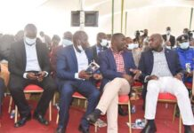 Leaders who attended the funeral of the slain athlete at Kapnyemisa village in Nandi county